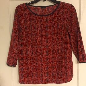 Red and Navy Ann Taylor printed blouse